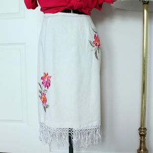 Fringed Embroidered Pencil Skirt